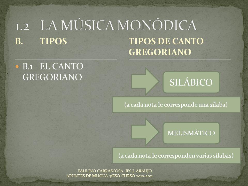1.2 LA MÚSICA MONÓDICA SILÁBICO B. TIPOS TIPOS DE CANTO GREGORIANO