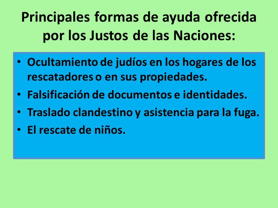 Principales formas de ayuda ofrecida por los Justos de las Naciones: