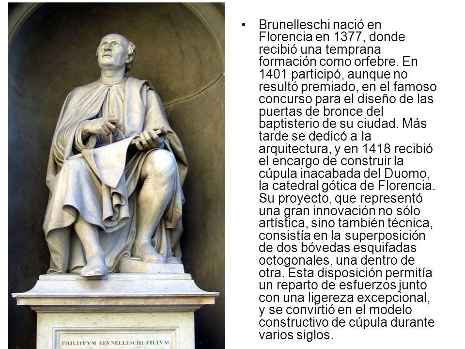 Brunelleschi nació en Florencia en 1377, donde recibió una temprana formación como orfebre.