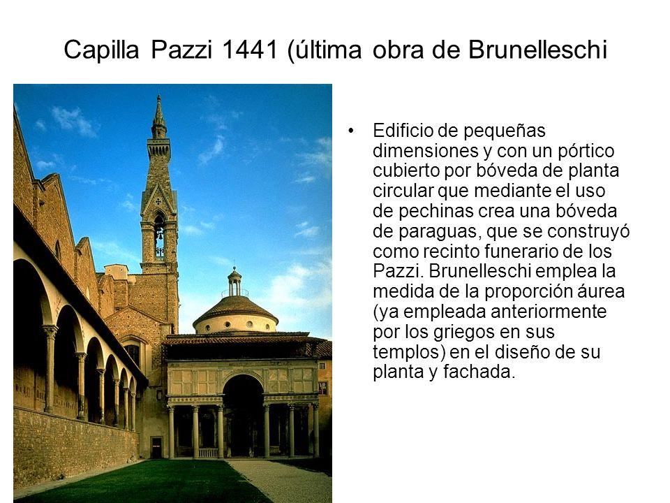 Capilla Pazzi 1441 (última obra de Brunelleschi