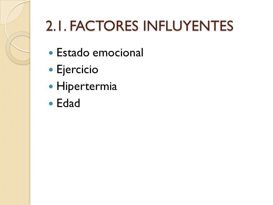 2.1. FACTORES INFLUYENTES Estado emocional Ejercicio Hipertermia Edad
