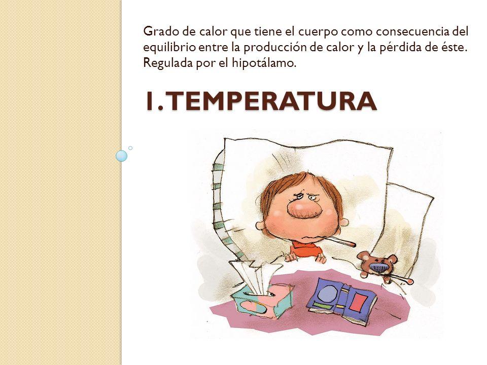 Grado de calor que tiene el cuerpo como consecuencia del equilibrio entre la producción de calor y la pérdida de éste. Regulada por el hipotálamo.