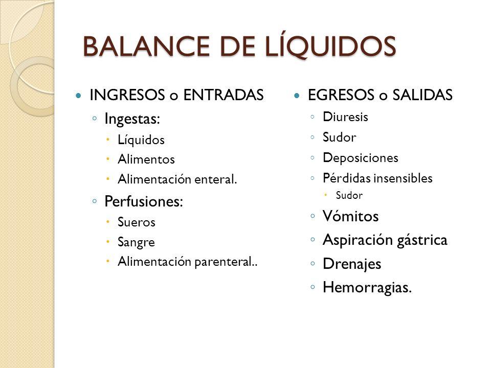 BALANCE DE LÍQUIDOS INGRESOS o ENTRADAS Ingestas: Perfusiones:
