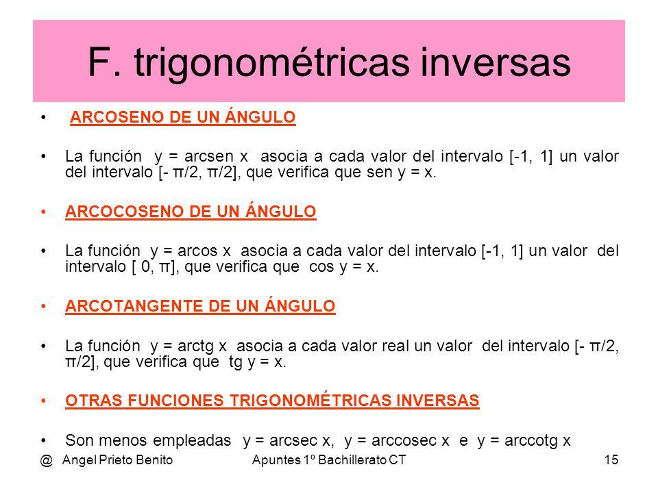 F. trigonométricas inversas