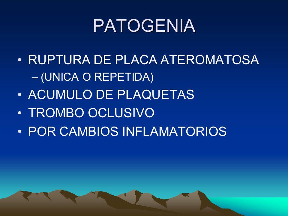 PATOGENIA RUPTURA DE PLACA ATEROMATOSA ACUMULO DE PLAQUETAS