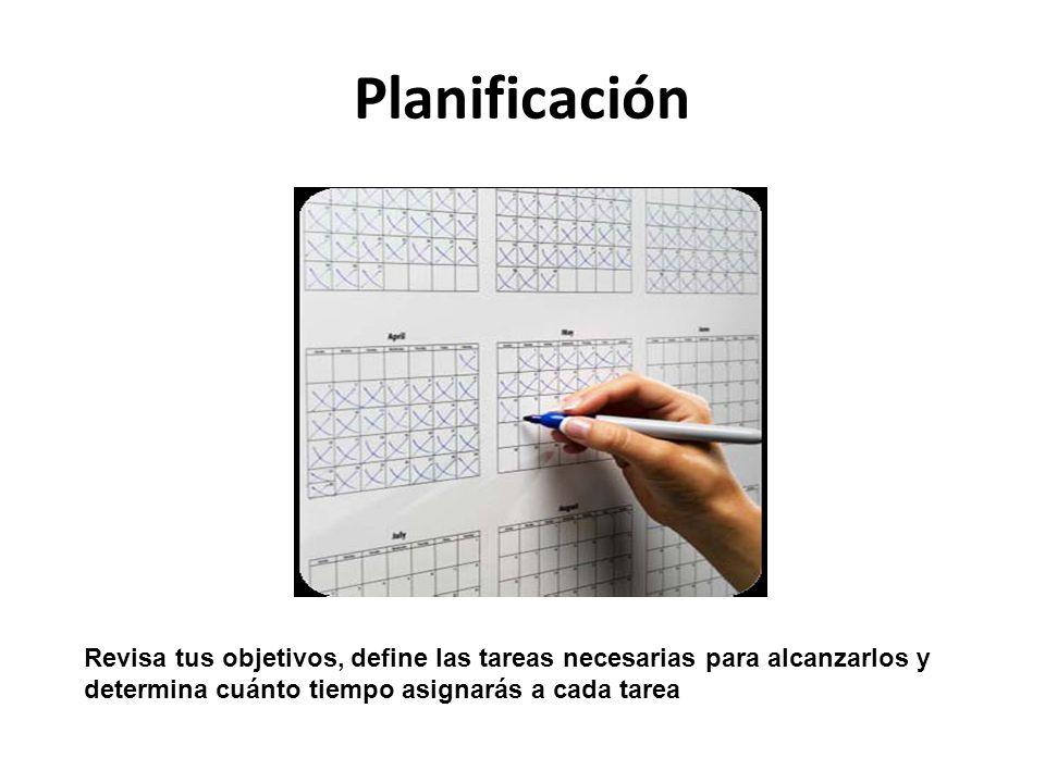 Planificación Revisa tus objetivos, define las tareas necesarias para alcanzarlos y determina cuánto tiempo asignarás a cada tarea.