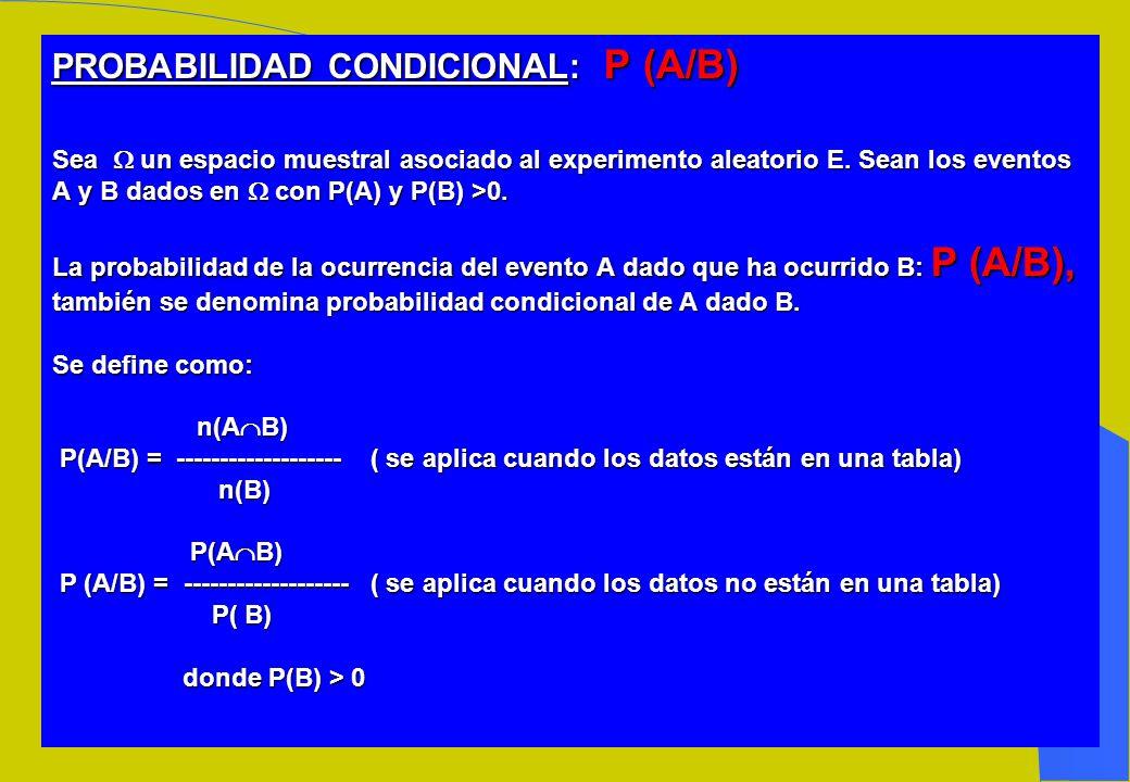 PROBABILIDAD CONDICIONAL: P (A/B) Sea  un espacio muestral asociado al experimento aleatorio E.