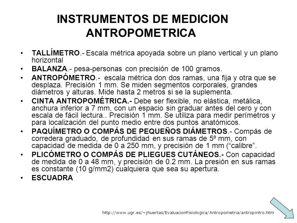 INSTRUMENTOS DE MEDICION ANTROPOMETRICA
