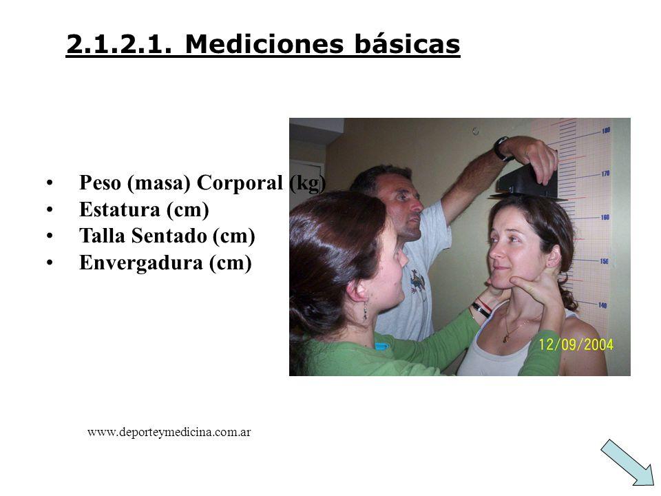 2.1.2.1. Mediciones básicas Peso (masa) Corporal (kg) Estatura (cm)