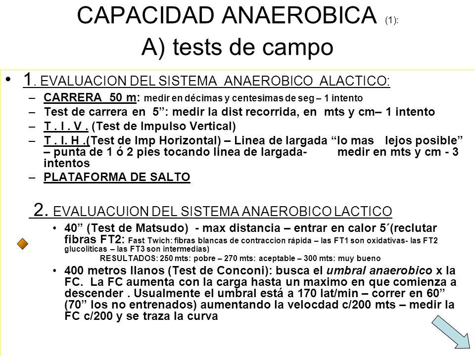 CAPACIDAD ANAEROBICA (1): A) tests de campo