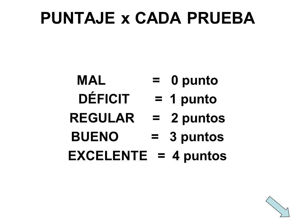PUNTAJE x CADA PRUEBA MAL = 0 punto DÉFICIT = 1 punto