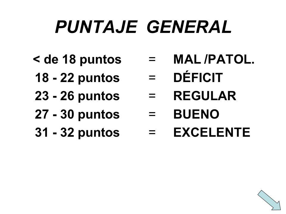 PUNTAJE GENERAL < de 18 puntos 18 - 22 puntos 23 - 26 puntos