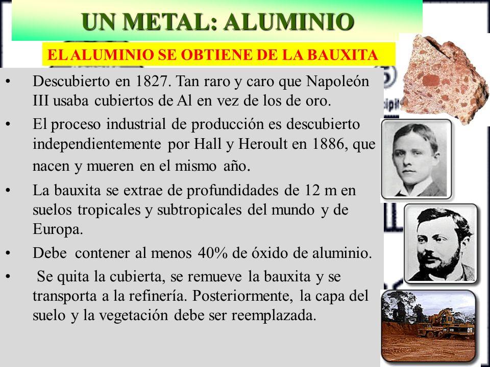 UN METAL: ALUMINIO EL ALUMINIO SE OBTIENE DE LA BAUXITA.