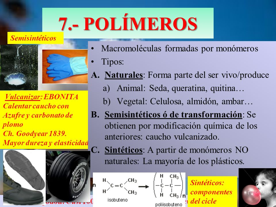 7.- POLÍMEROS Macromoléculas formadas por monómeros Tipos: