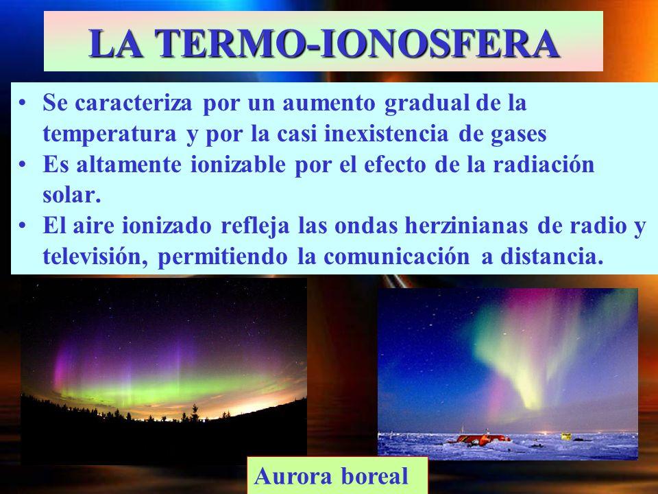 LA TERMO-IONOSFERA Se caracteriza por un aumento gradual de la temperatura y por la casi inexistencia de gases.