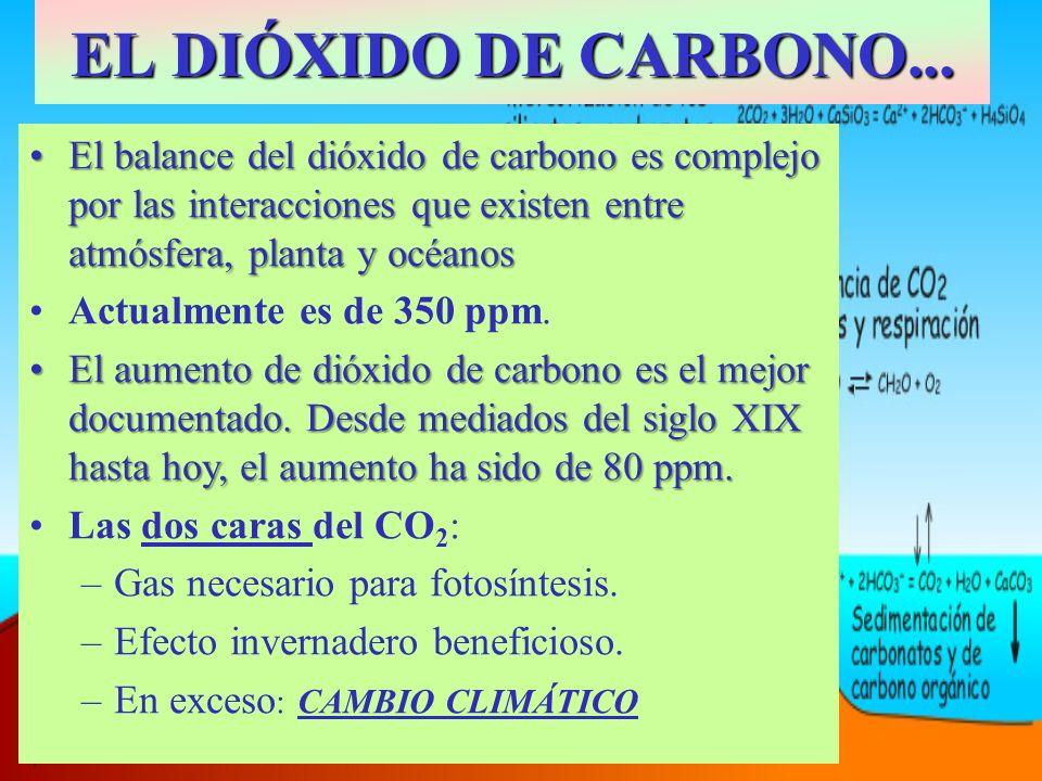 EL DIÓXIDO DE CARBONO... El balance del dióxido de carbono es complejo por las interacciones que existen entre atmósfera, planta y océanos.