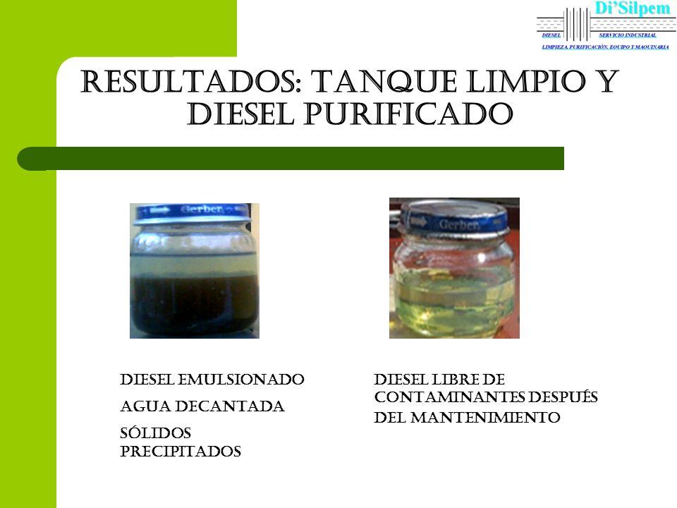 Resultados: tanque limpio Y diesel purificado