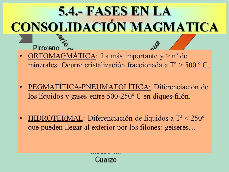 5.4.- FASES EN LA CONSOLIDACIÓN MAGMATICA