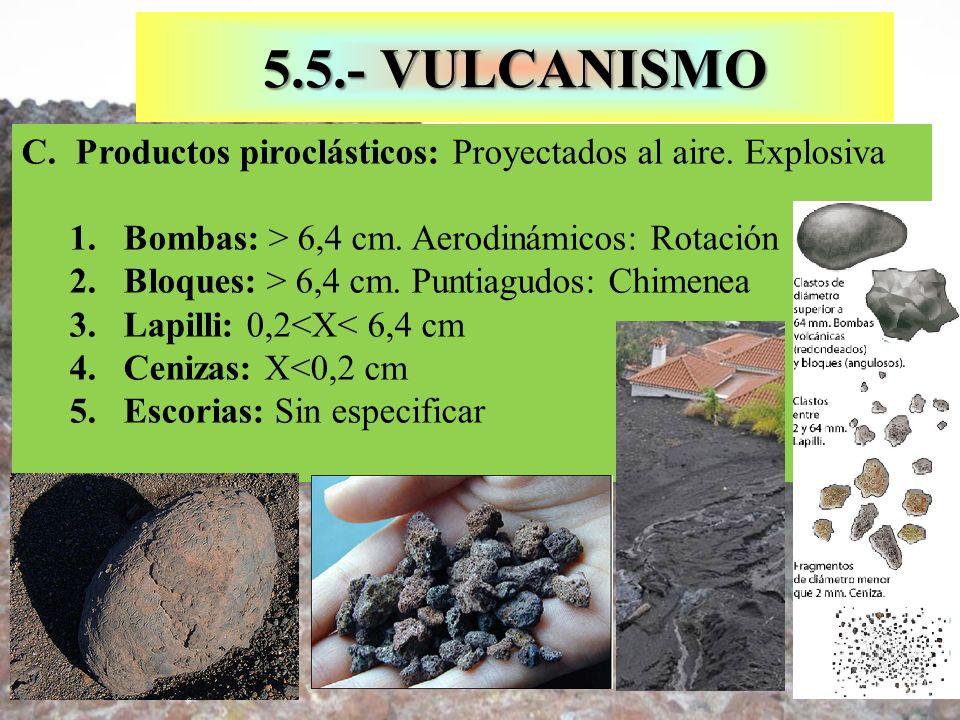 5.5.- VULCANISMOProductos piroclásticos: Proyectados al aire. Explosiva. Bombas: > 6,4 cm. Aerodinámicos: Rotación.