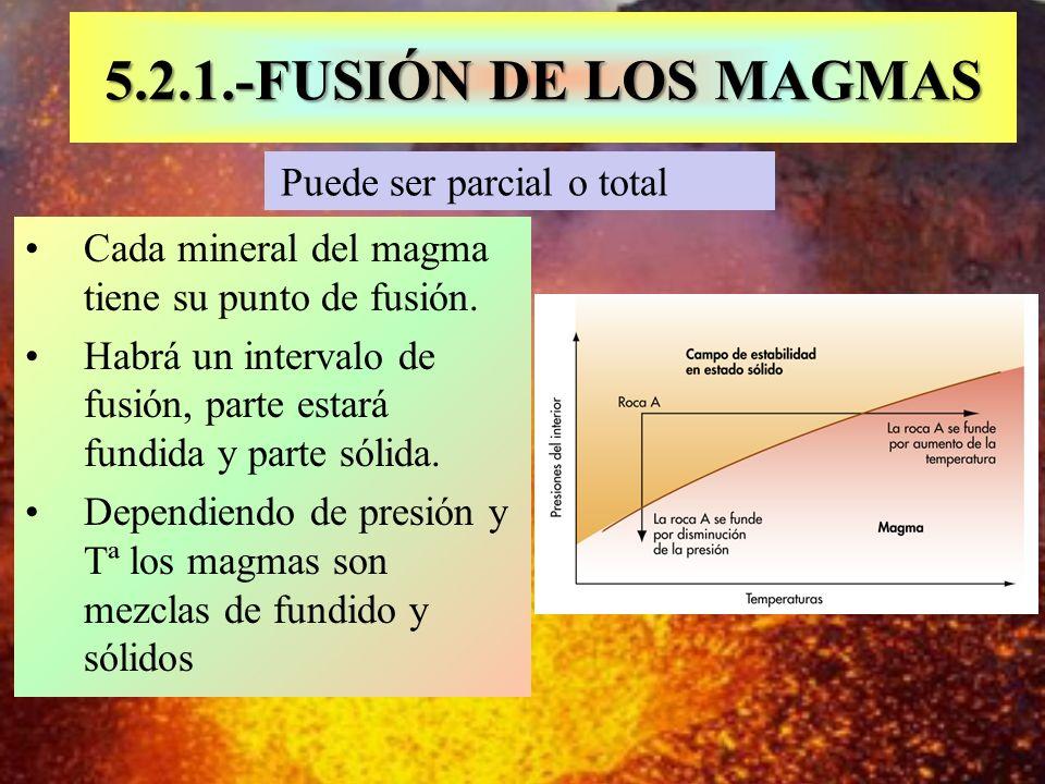 5.2.1.-FUSIÓN DE LOS MAGMAS Puede ser parcial o total. Cada mineral del magma tiene su punto de fusión.