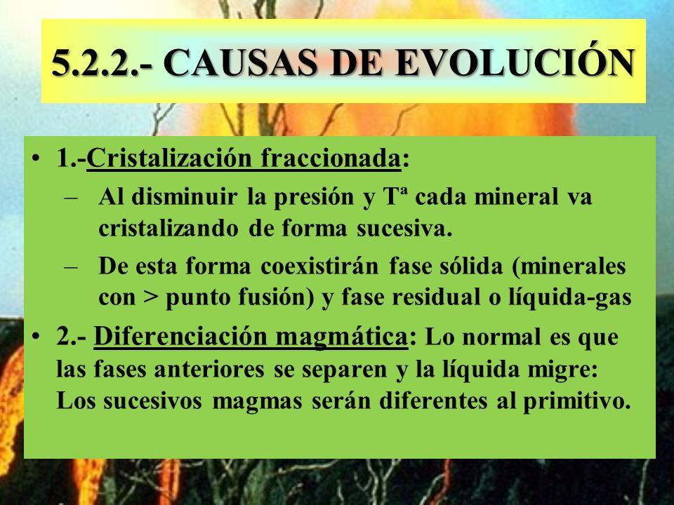 5.2.2.- CAUSAS DE EVOLUCIÓN 1.-Cristalización fraccionada: