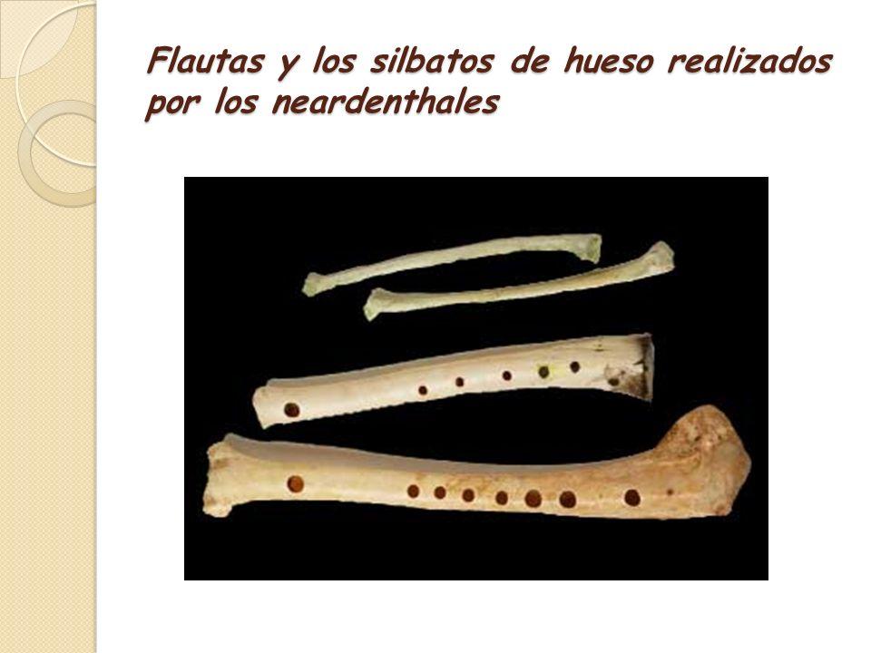 Flautas y los silbatos de hueso realizados por los neardenthales