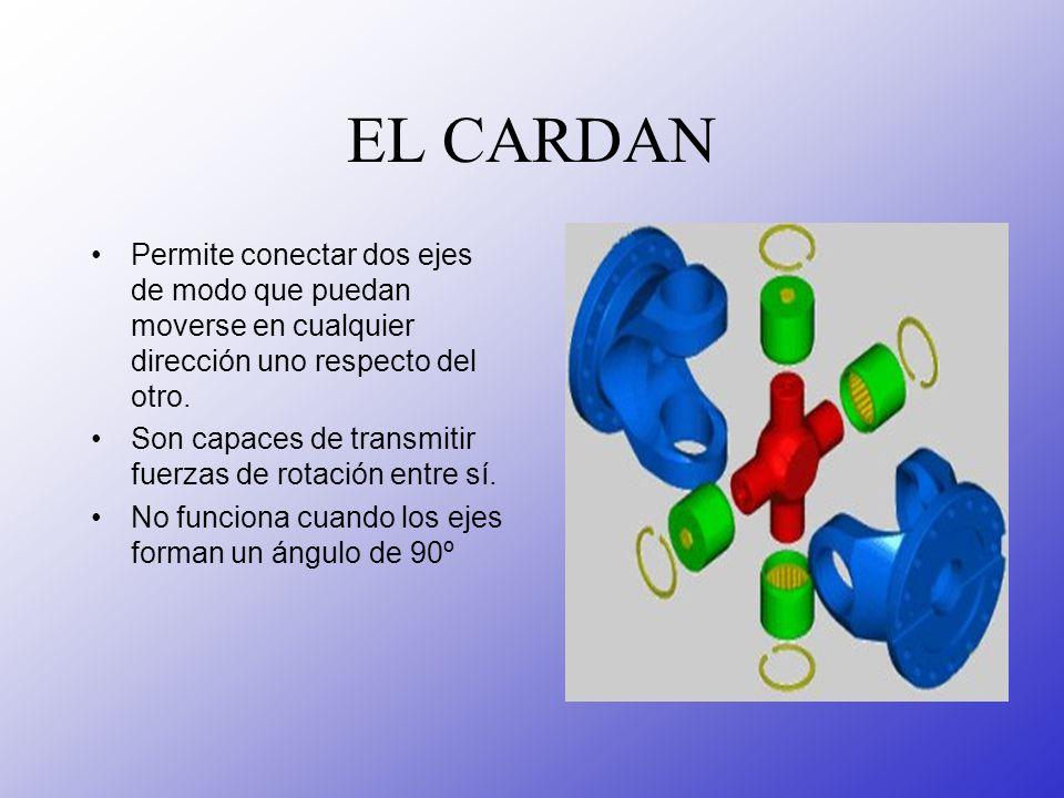 EL CARDAN Permite conectar dos ejes de modo que puedan moverse en cualquier dirección uno respecto del otro.
