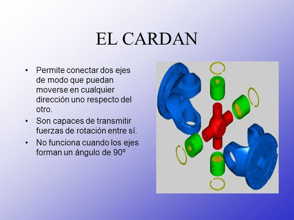 EL CARDANPermite conectar dos ejes de modo que puedan moverse en cualquier dirección uno respecto del otro.