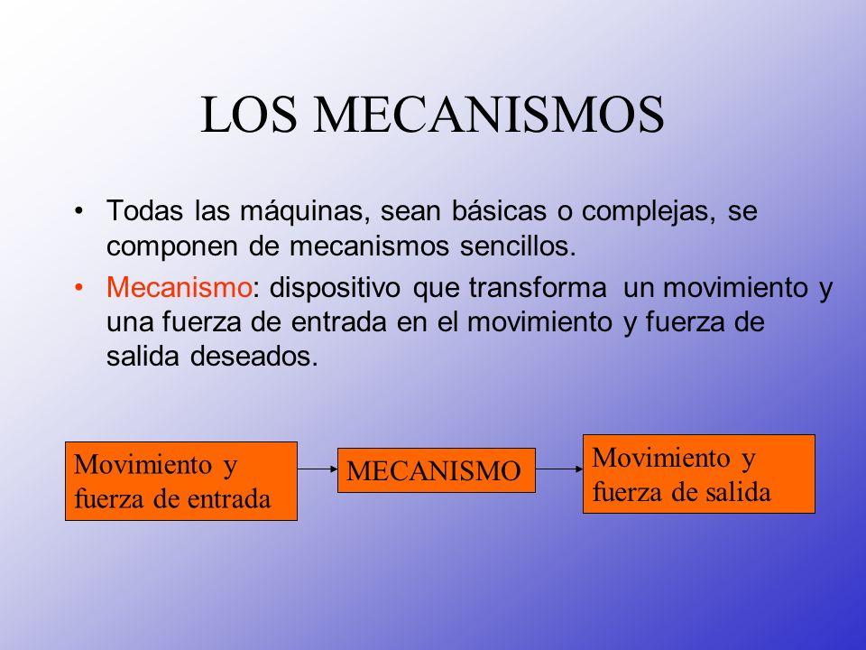 LOS MECANISMOSTodas las máquinas, sean básicas o complejas, se componen de mecanismos sencillos.