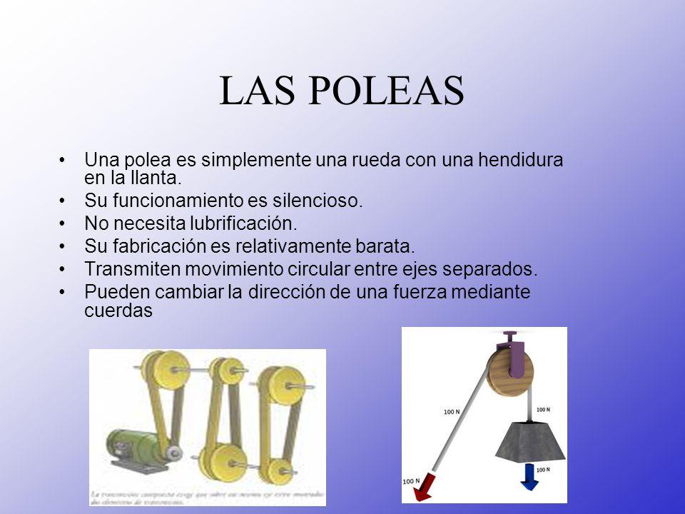 LAS POLEAS Una polea es simplemente una rueda con una hendidura en la llanta. Su funcionamiento es silencioso.