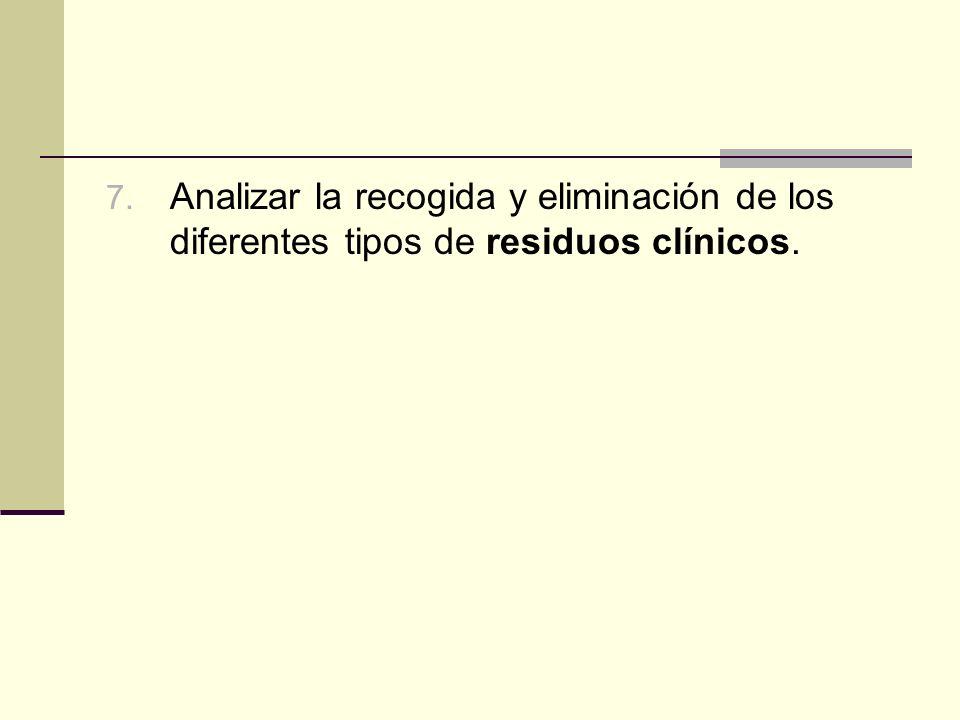 Analizar la recogida y eliminación de los diferentes tipos de residuos clínicos.