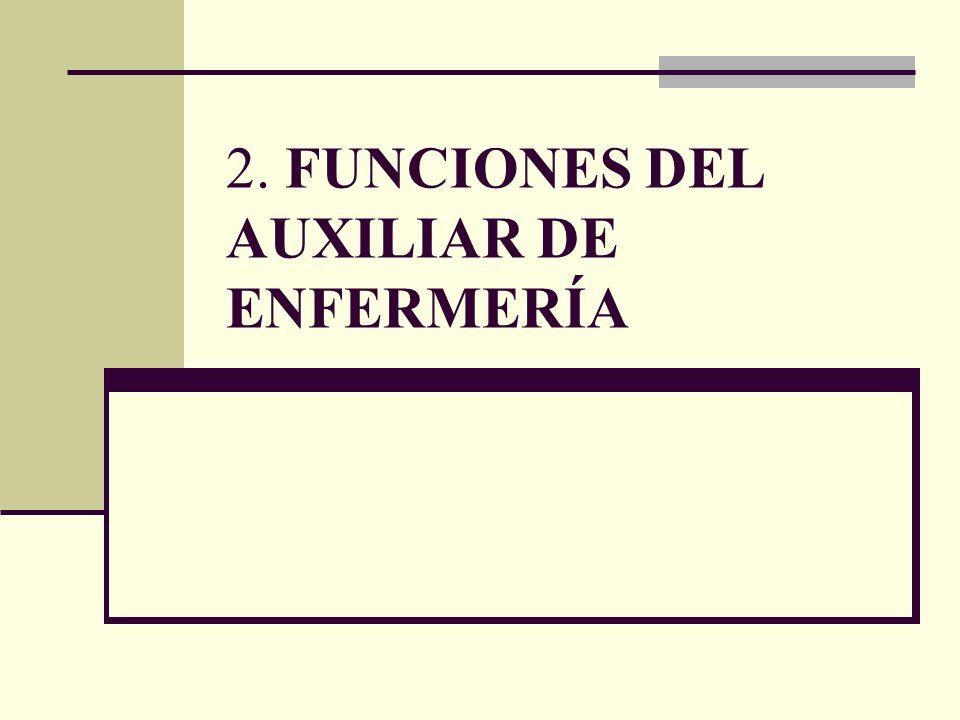 2. FUNCIONES DEL AUXILIAR DE ENFERMERÍA