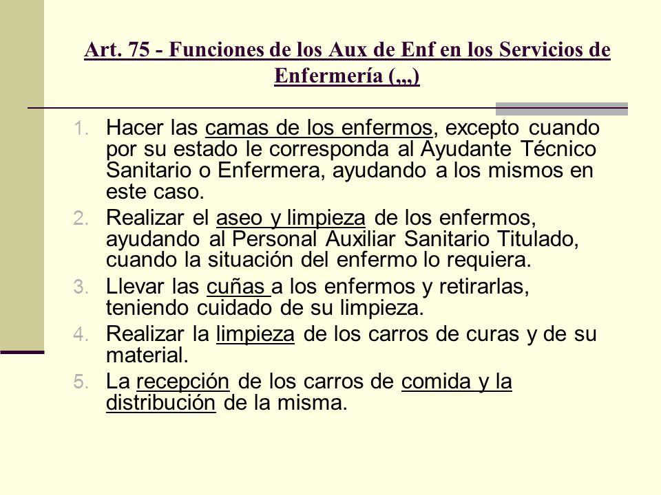 Art. 75 - Funciones de los Aux de Enf en los Servicios de Enfermería (,,,)