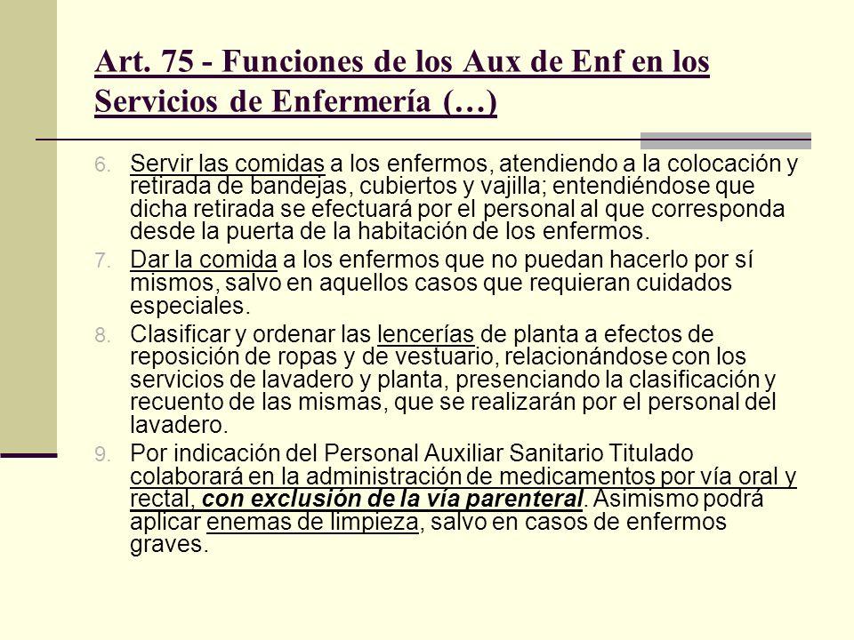 Art. 75 - Funciones de los Aux de Enf en los Servicios de Enfermería (…)