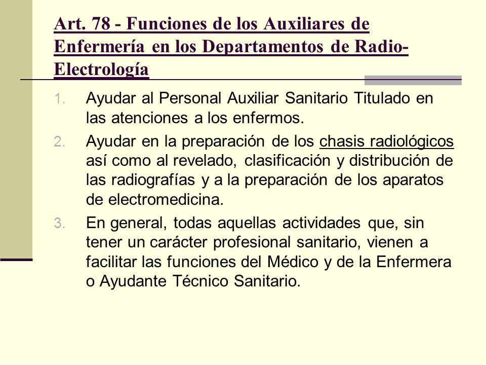 Art. 78 - Funciones de los Auxiliares de Enfermería en los Departamentos de Radio-Electrología