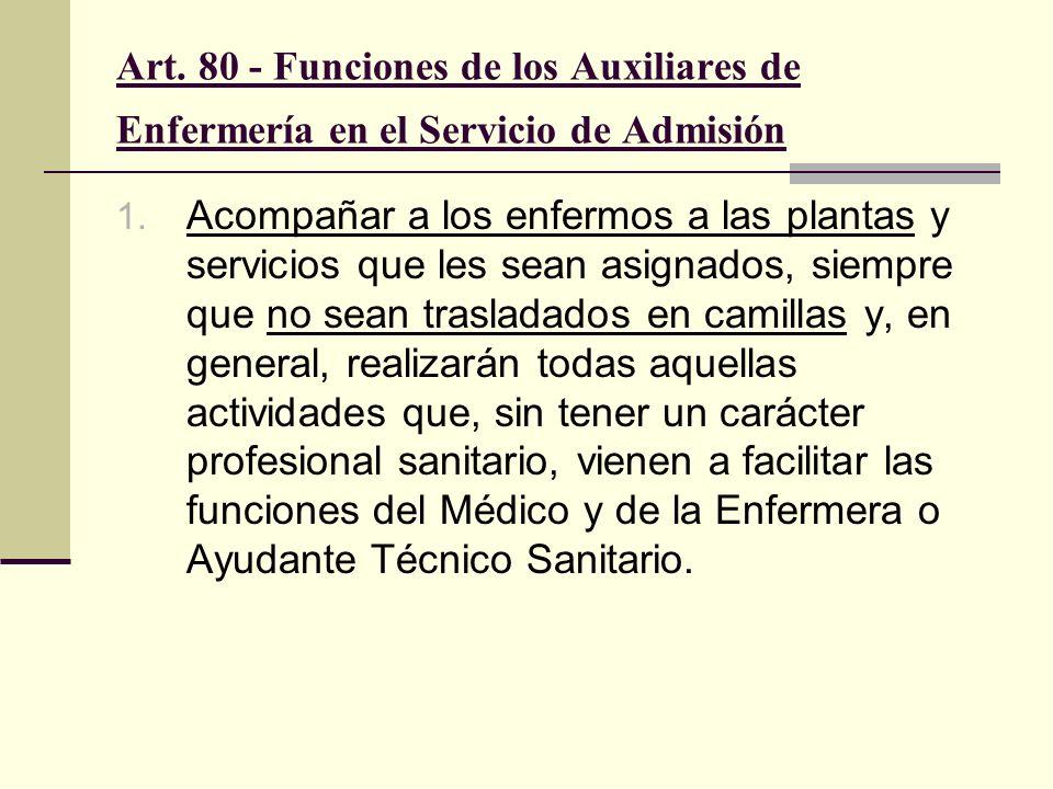 Art. 80 - Funciones de los Auxiliares de Enfermería en el Servicio de Admisión