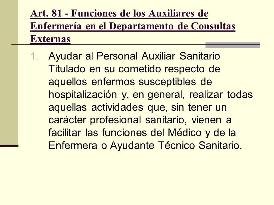 Art. 81 - Funciones de los Auxiliares de Enfermería en el Departamento de Consultas Externas