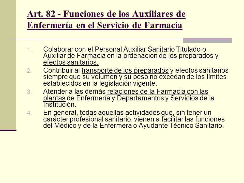Art. 82 - Funciones de los Auxiliares de Enfermería en el Servicio de Farmacia