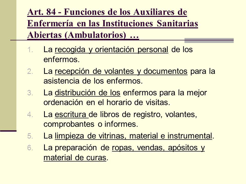 Art. 84 - Funciones de los Auxiliares de Enfermería en las Instituciones Sanitarias Abiertas (Ambulatorios) …