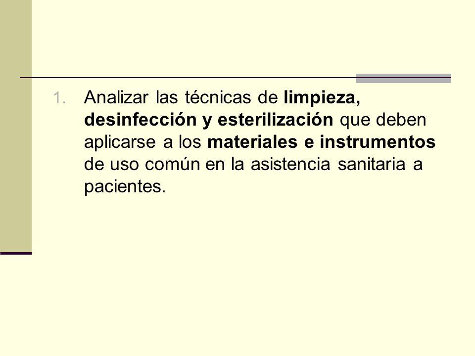 Analizar las técnicas de limpieza, desinfección y esterilización que deben aplicarse a los materiales e instrumentos de uso común en la asistencia sanitaria a pacientes.