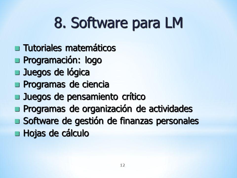 8. Software para LM Tutoriales matemáticos Programación: logo
