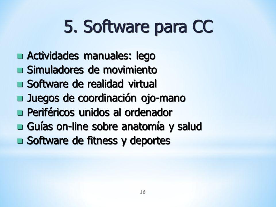 5. Software para CC Actividades manuales: lego