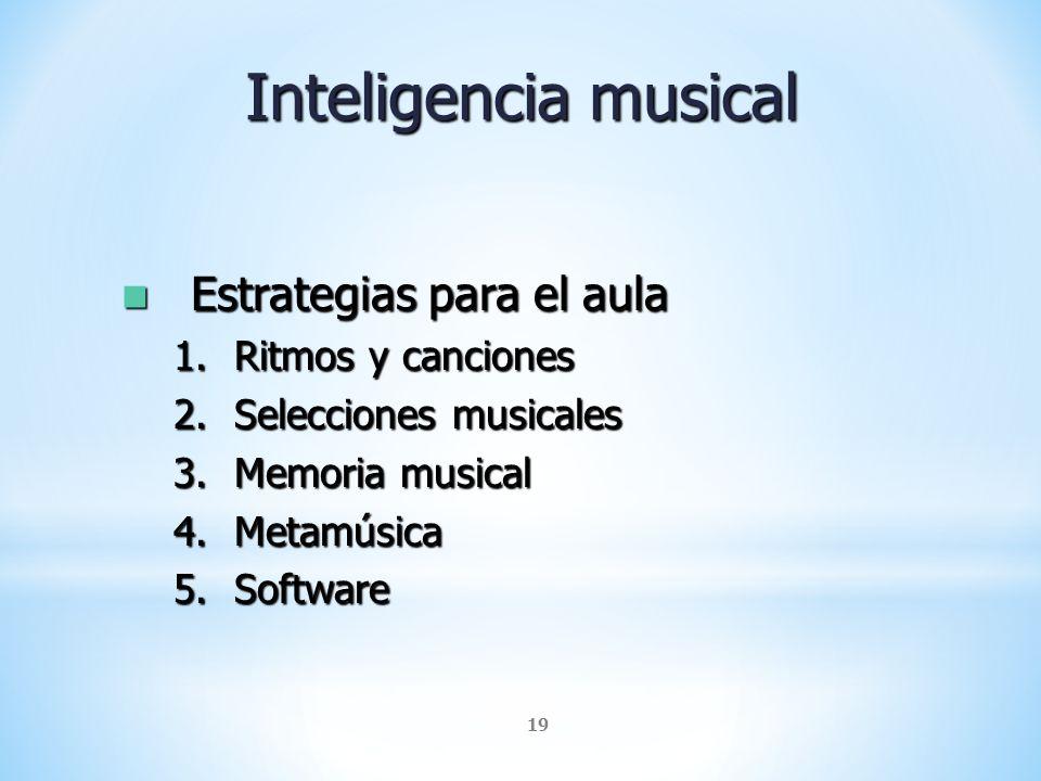 Inteligencia musical Estrategias para el aula Ritmos y canciones