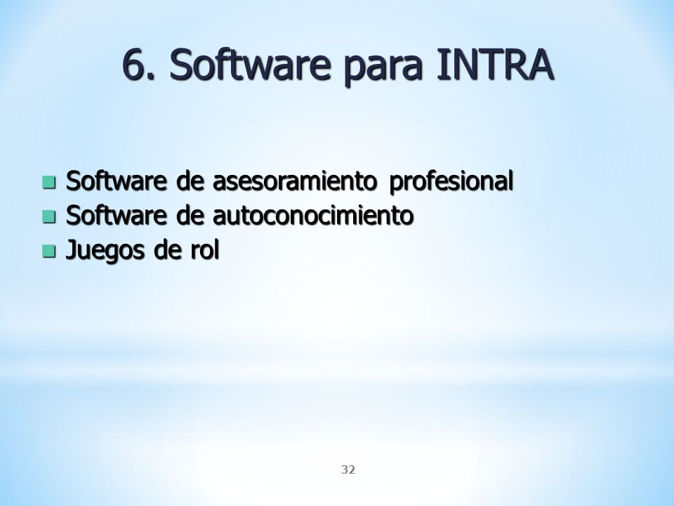 6. Software para INTRA Software de asesoramiento profesional