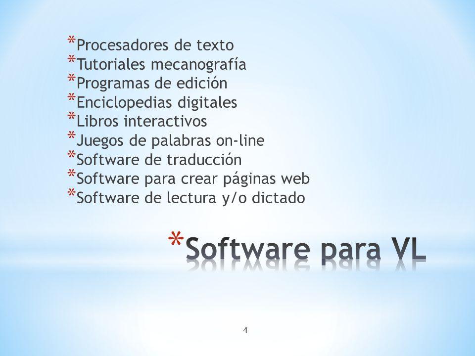 Software para VL Procesadores de texto Tutoriales mecanografía