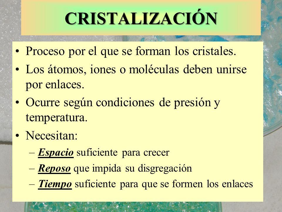 CRISTALIZACIÓN Proceso por el que se forman los cristales.