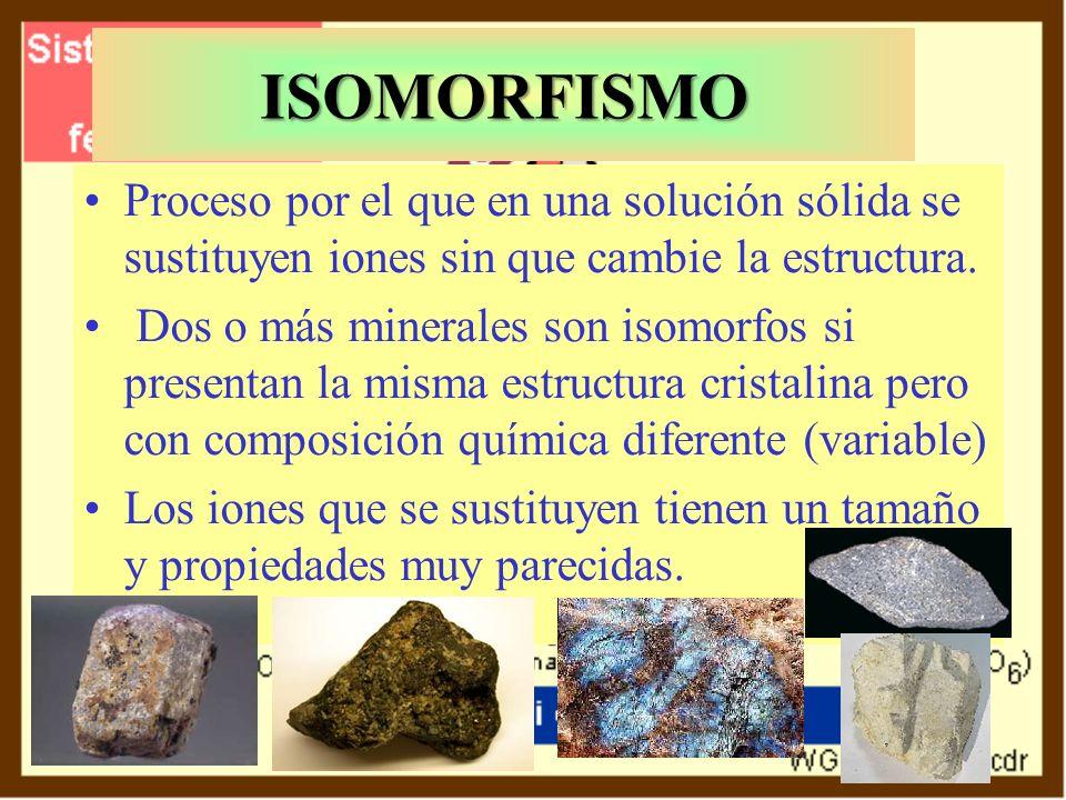 ISOMORFISMO Proceso por el que en una solución sólida se sustituyen iones sin que cambie la estructura.