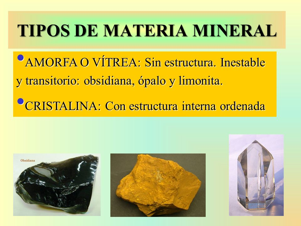 TIPOS DE MATERIA MINERAL