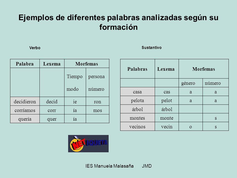 Ejemplos de diferentes palabras analizadas según su formación