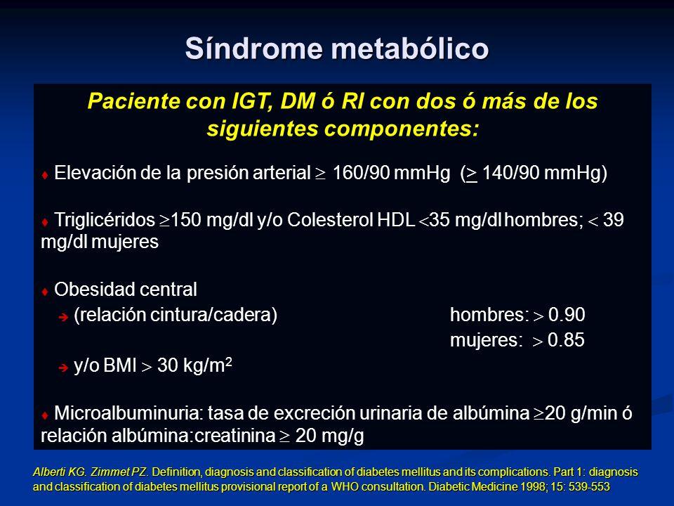 Paciente con IGT, DM ó RI con dos ó más de los siguientes componentes: